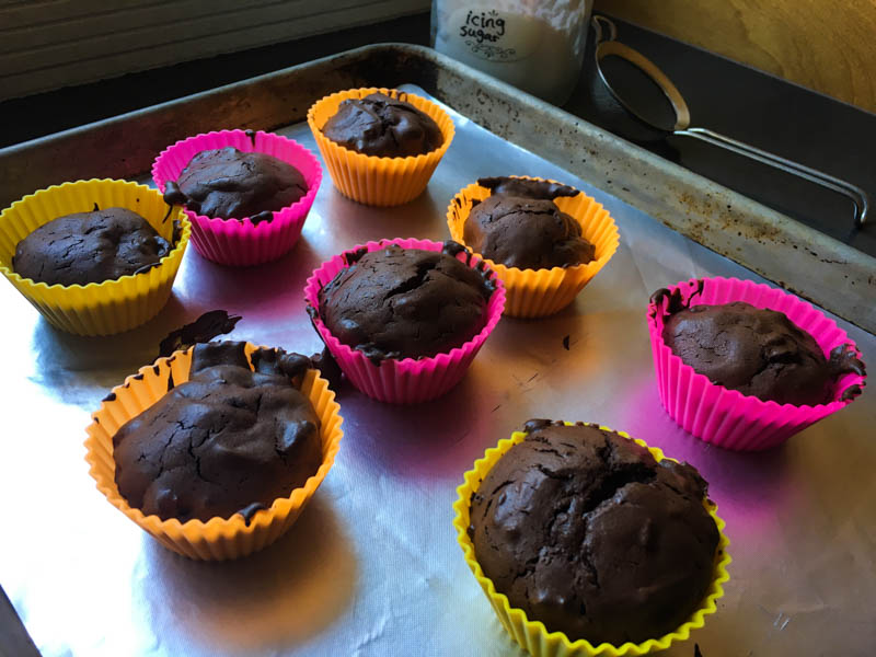 Jittery Flourless Chocolate Muffins, fresh out of the oven in colourful silicone cups, on a baking pan, with icing sugar in a jar, ready to be sprinkled on