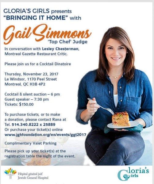 invitation to Gloria's Girls Brint It Home Jewish General Hospital fundraiser for ovarian cancer.