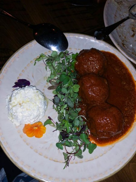 Spicy Harissa Meatballs Dry Aged Beef, Tomato, House-made Ricotta Cheese