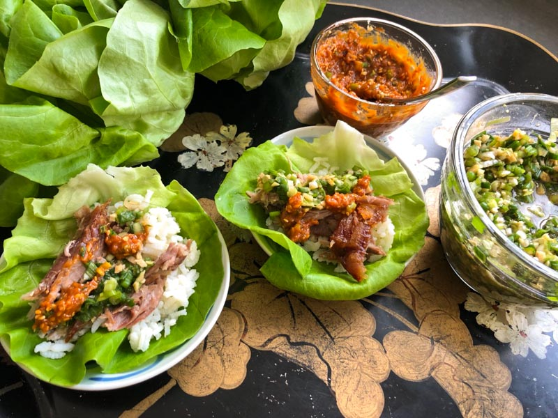 Bo Ssam lettuce wraps on a tray
