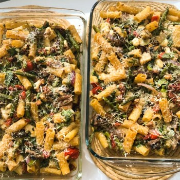 Rigatoni Primavera in 2 large casseroles just finished baking in the oven