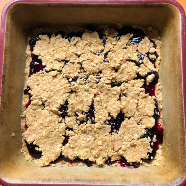 Blackcurrant Jittery Jam Squares, layered in pan and ready to bake
