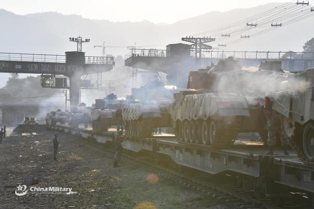 Tanks belonging to Eastern Theater Command being transported on railways