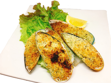 Grilled mussels with oven
