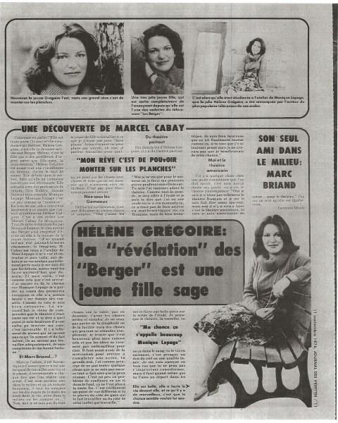Helene Gregoire LesBerger©JournaldesVedettes11septembre1976