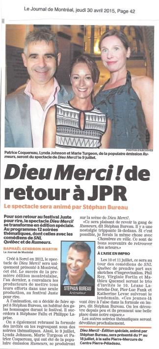 Marie Turgeon DieuMerci©JournalDeMontreal2015