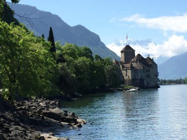 Chillon with the Dents du Midi in the far distance