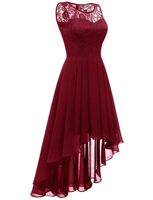 Illusion lace neckline, sleeveless design