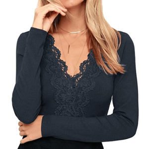 Floral Lace Sexy Shirt(blue)