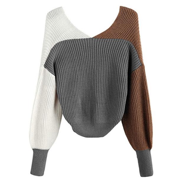 ZAFUL Women's Criss Cross Colour Block Twisted Pullover Crop Knitted Jumper Jumper Sweatshirt (brown)