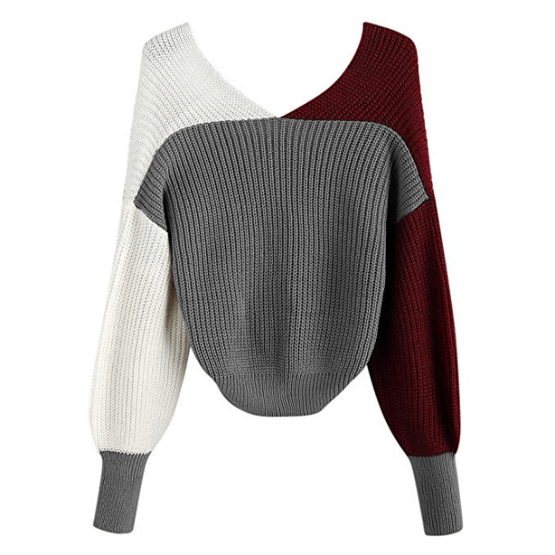 ZAFUL Women's Criss Cross Colour Block Twisted Pullover Crop Knitted Jumper Jumper Sweatshirt (wine red)