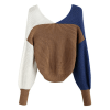ZAFUL Women's Criss Cross Colour Block Twisted Pullover Crop Knitted Jumper Jumper Sweatshirt (blue)
