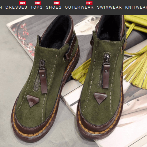 Image_Berrylook_casual_outdoor_short_boots_green_frontside