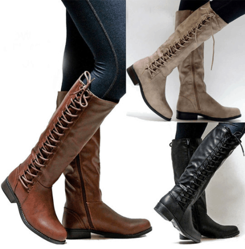 Berrylook-Plain Flat Round Toe Date Outdoor Knee High Flat Boots