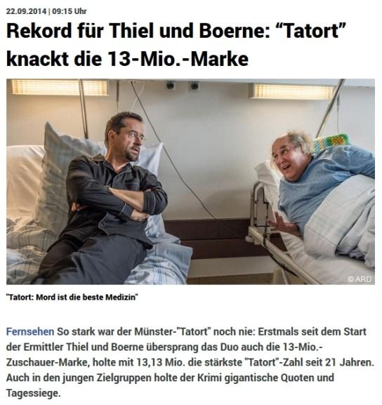 """21. September: Tatort """"Mord ist die beste Medizin"""" - Quote: 13,13 Mio (später noch nach oben korrigiert auf 13,22 Mio)"""