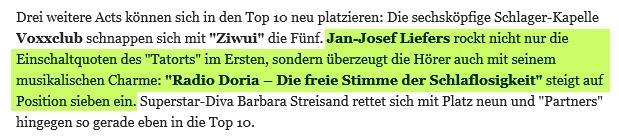 22. September: Radio Doria auf Platz 7 der deutschen Albumcharts