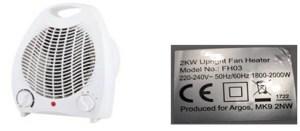 Argos Simple Value 2kW Upright Fan Heater