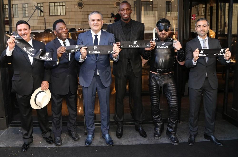 002 Carlito Fuente, Pelé, Ricardo Guadalupe (CEO of Hublot), Usain Bolt, Peter Marino and Jean-François Sberro (General Manager of Hublot America) at Hublot 5th Avenue (NYC) Boutique