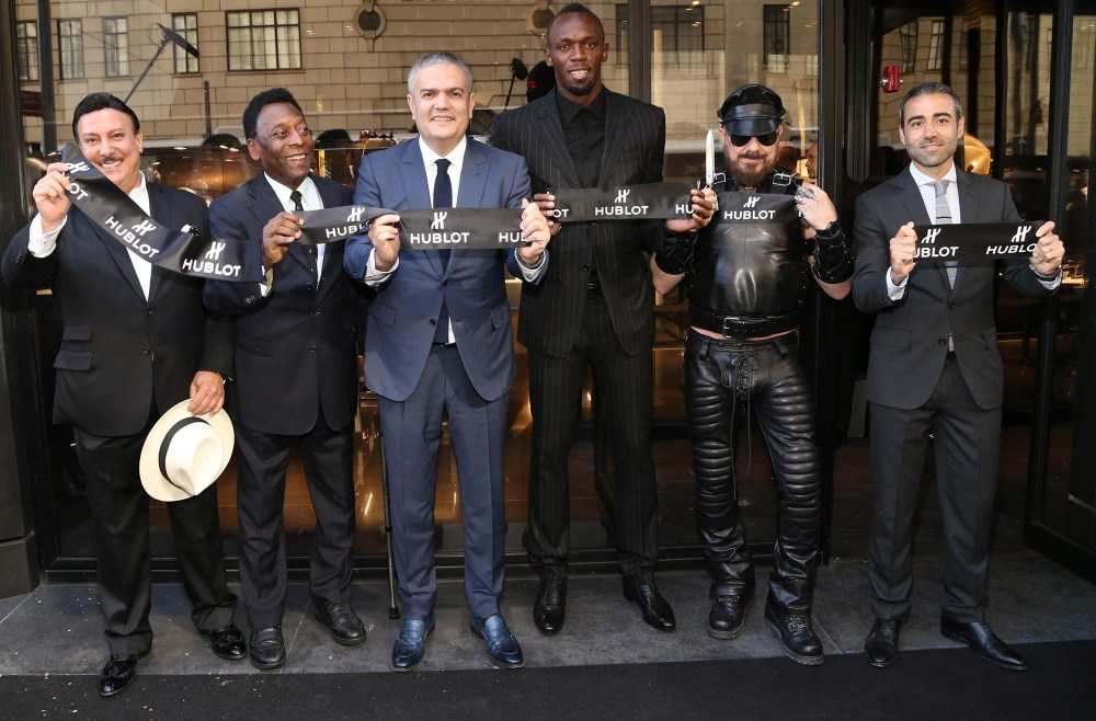 002 Carlito Fuente, Pelé, Ricardo Guadalupe (CEO of Hublot), Usain Bolt, Peter Marino and Jean-François Sberro (General Manager of Hublot America) at Hublot 5th Avenue (NYC) Boutique