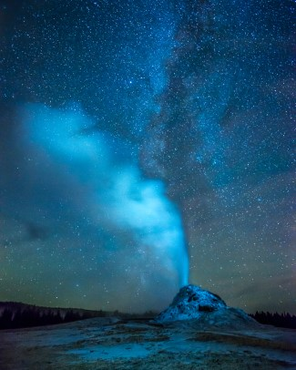 White Dome Geyser and Milky Way — Yellowstone © jj raia