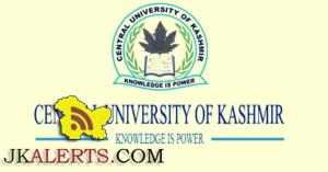 CENTRAL UNIVERSITY OF KASHMIR NON TEACHING RECRUITMENT 2021