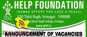 JOBS IN HELP FOUNDATION SRINAGAR