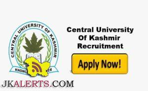 Central University of Kashmir Recruitment 2017, Walk-In-Interview for jobs in CUK