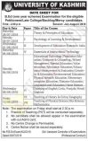 Kashmir University B.ed Date sheet