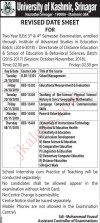Kashmir University Revised Date Sheet for Two Year B.Ed 3,d & 4th Semester Examination,
