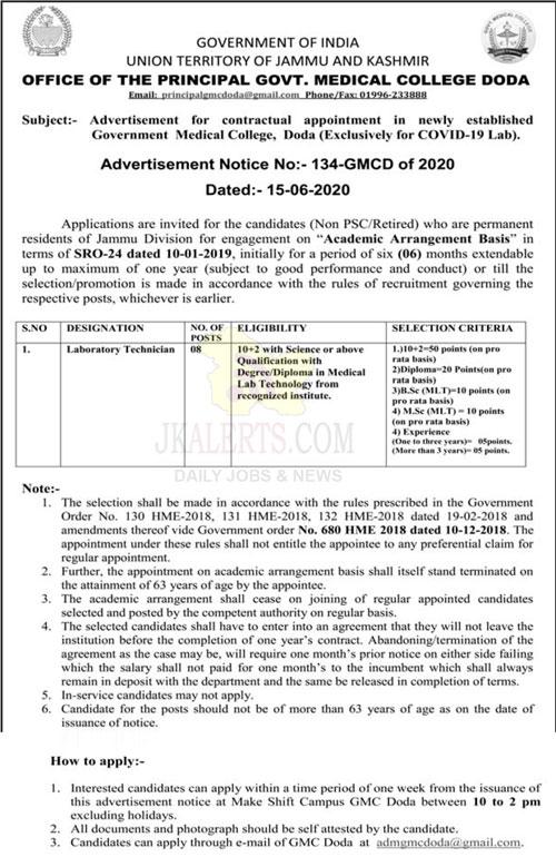 GMC Doda Recruitment 2020.