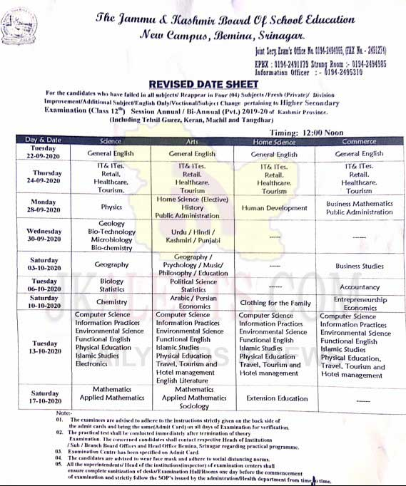 JKBOSE Revised Date Sheet Class 12th Kashmir.