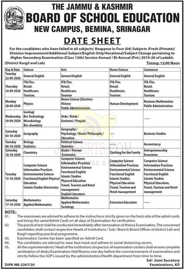JKBOSE, CLass 12th, Date Sheet, Ladakh.