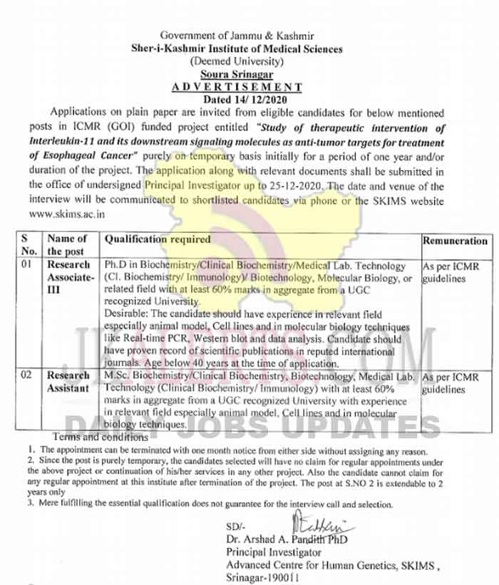 SKIMS Jobs Recruitment Research Associate and Research Assistant posts.
