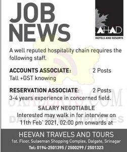 AHAD Hotels and Resorts Srinagar Jobs