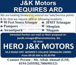 Hero J&K Motors Srinagar Jobs Recruitment 2021.