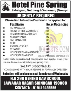 Hotel Pine Spring Jobs Recruitment 2021 | Pahalgam, Gulmarg & Sonamarg (Group). J&K  Hotel Pine Srinagr Jobs. Private jobs in Kashmir Hotel: Interested candidates looking for jobs in private hotels