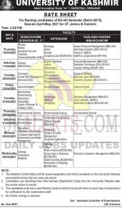 Kashmir University BG Date Sheet.
