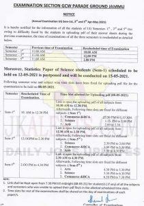GCW Parade Rescheduled exam timing.