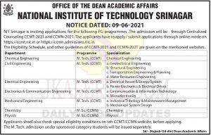 NIT Srinagar PG Admission 2021.