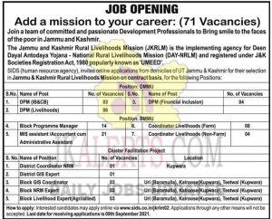 JKRLM Jobs Recruitment 2021 71 posts