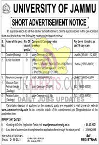 Jammu university jobs recruitment 2021 35 posts.