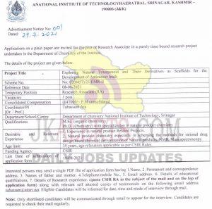 NIT Srinagar Jobs Recruitment 2021