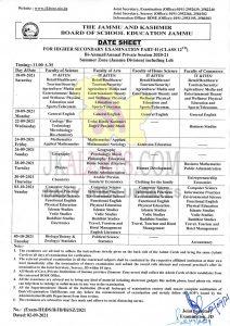 JKBOSE Class 12th Date sheet Jammu, Leh.