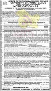 Jammu University UG / PG Admission 2021-22.