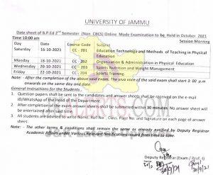 Jammu University B.P. Ed. Date sheet.