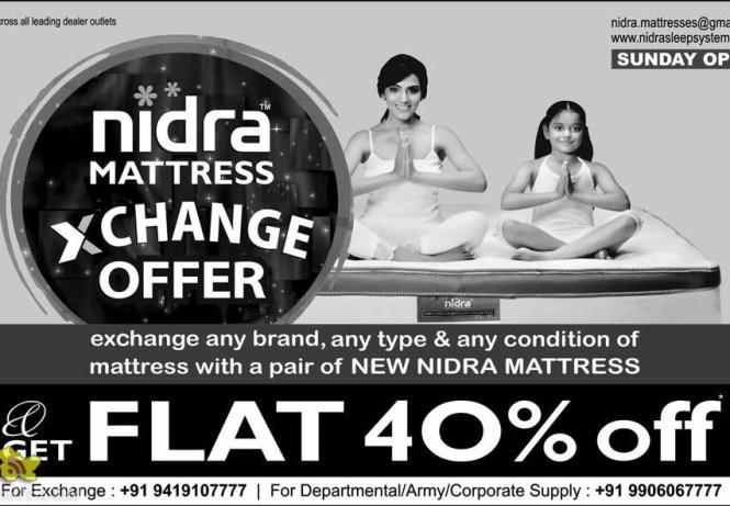 Nidra Mattress Exchange Offer Flat 40 Off