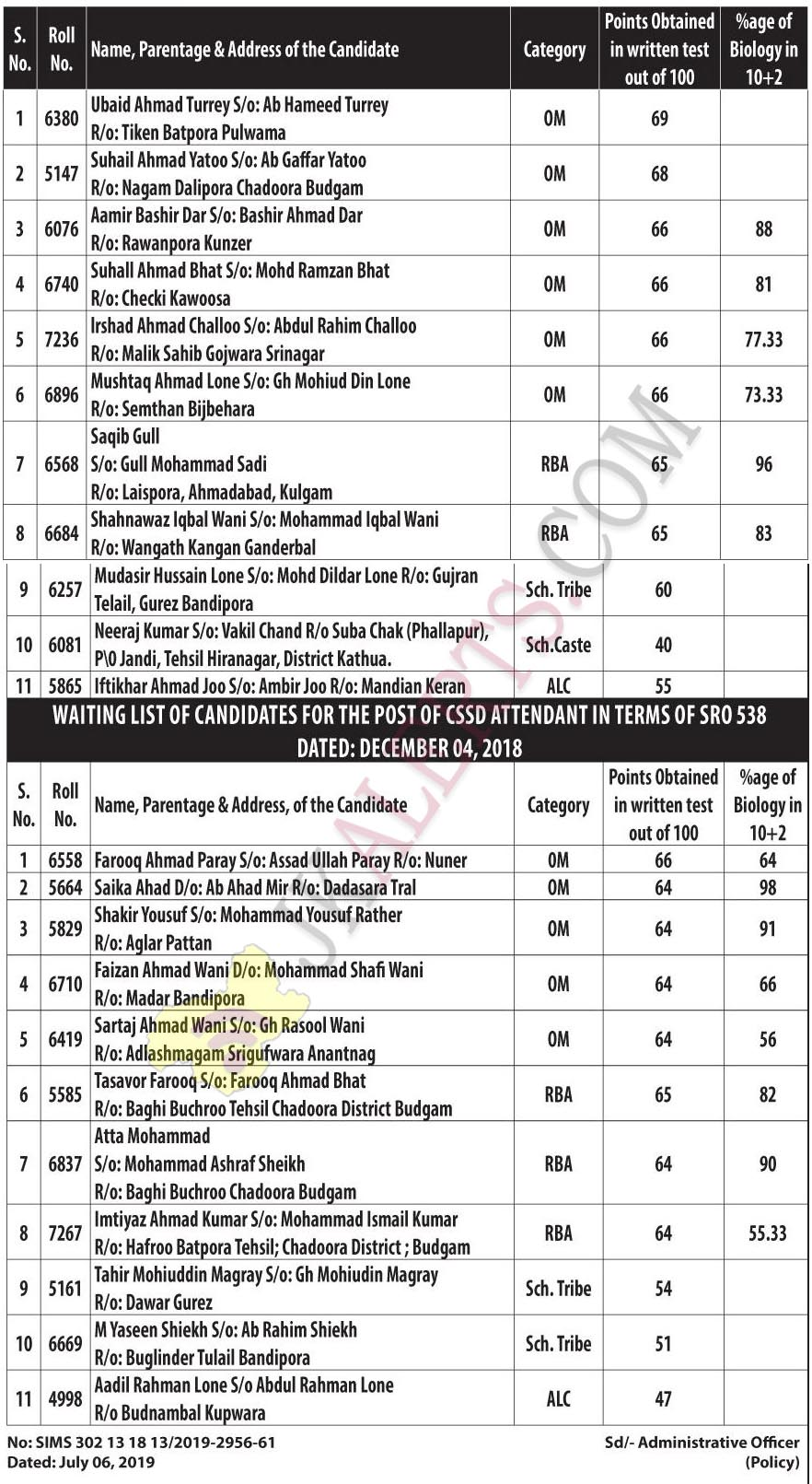SKIMS Provisional Selection List / waiting list for CSSD