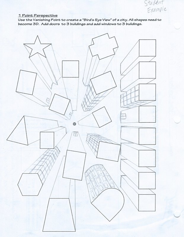 Printable Worksheets » One Point Perspective Worksheets