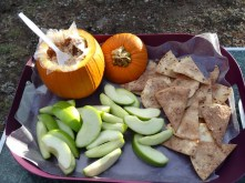 Toffee dip with homemade cinnamon chips and apples