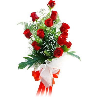 12 Red Roses Stylish Bunch With Red Bow For Other Cities Delivery Outside Baroda J K Florist